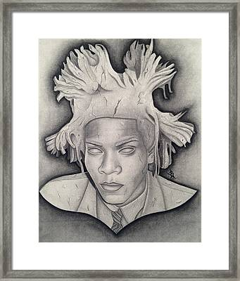 Immortalizing In Stone Jean Michel Basquiat Drawing Framed Print by Angelee Borrero