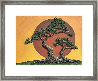 Impasto - Bonsai With Sun - One Framed Print by Lori Grimmett