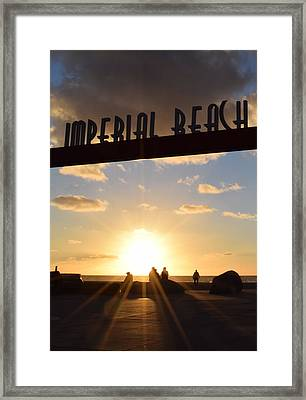 Imperial Beach At Sunset Framed Print