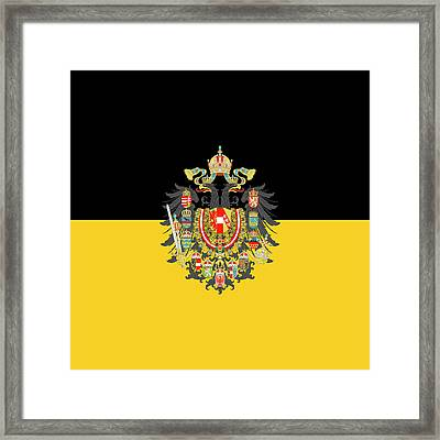 Framed Print featuring the digital art Habsburg Flag With Imperial Coat Of Arms 1 by Helga Novelli