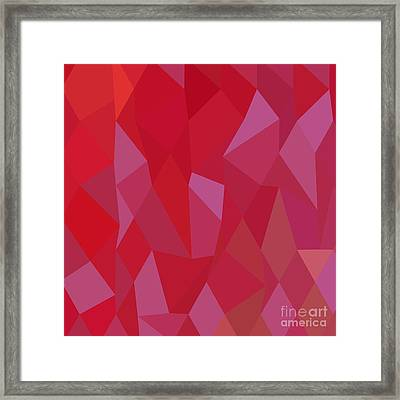 Imperial Purple Cadmium Red Abstract Low Polygon Background Framed Print