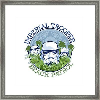 Imperial Trooper Beach Patrol Framed Print by Edward Draganski