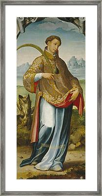 Imposition Of The Chasuble On Saint Ildefonso Framed Print by San Esteban