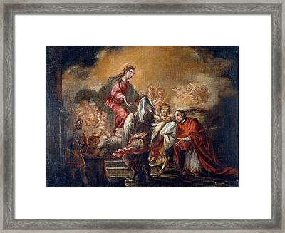 Imposition Of The Chasuble On Saint Ildephonsus  Framed Print by Juan de Valdes Leal