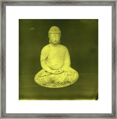 Impossible Project Third Man Records Jack White Buddha Yellow Black Framed Print by Jane Linders
