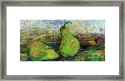 Framed Print featuring the painting Impressionism Green Pairs Oil Painting by Ginette Callaway