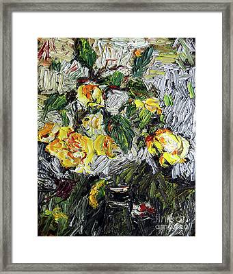 Framed Print featuring the painting Impressionism Last Yellow Roses by Ginette Callaway