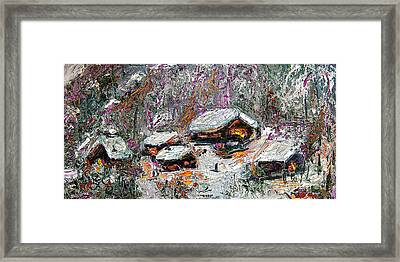 Framed Print featuring the painting Impressionism Winter Cabins by Ginette Callaway