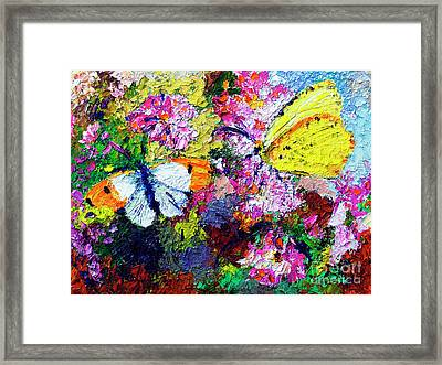 Framed Print featuring the painting Impressionist Butterflies In Summer Garden by Ginette Callaway