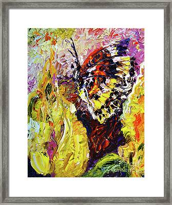Framed Print featuring the painting Impressionist Butterfly Yellow Flower by Ginette Callaway