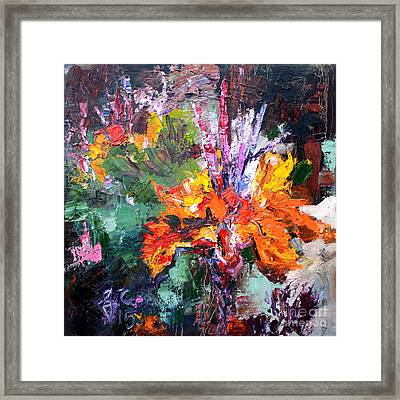 Impressionist Canna Flower Oil Painting  Framed Print by Ginette Callaway