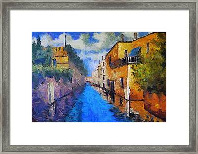 Impressionist D'art At The Canal Framed Print by Mario Carini