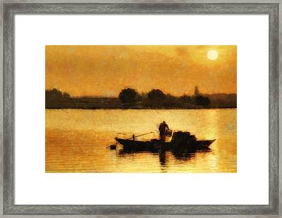 Framed Print featuring the digital art Impressionist Dawn by Cameron Wood