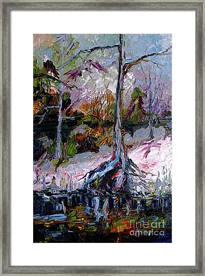 Framed Print featuring the painting Impressionist Landscape Portrait Wetland Tree by Ginette Callaway