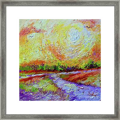Framed Print featuring the painting Impressionist Sunny Day Landscape by Ginette Callaway