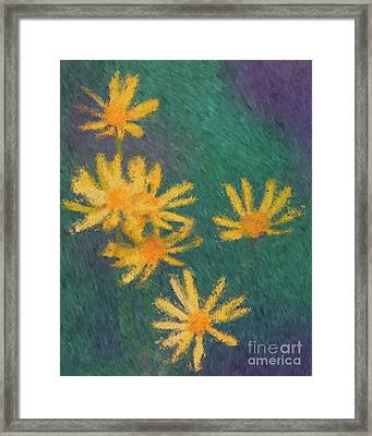 Framed Print featuring the painting Impressionist Yellow Wildflowers by Smilin Eyes  Treasures