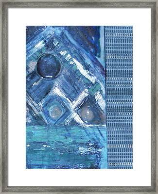 Impressionistic Blues With Buttons Framed Print by Anne-Elizabeth Whiteway