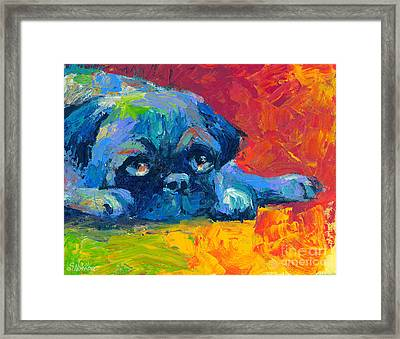 impressionistic Pug painting Framed Print