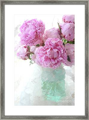 Impressionistic Romantic Pink Peonies Aqua Vase French Impressionism - Romantic Shabby Chic Peonies Framed Print by Kathy Fornal