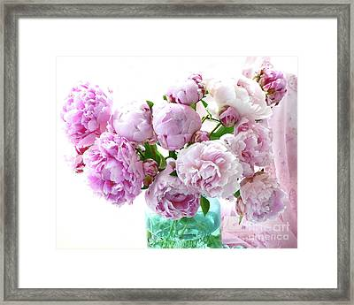 Impressionistic Romantic Pink Peonies Watercolor Romantic Floral Decor - Pink Peony Decor Framed Print by Kathy Fornal