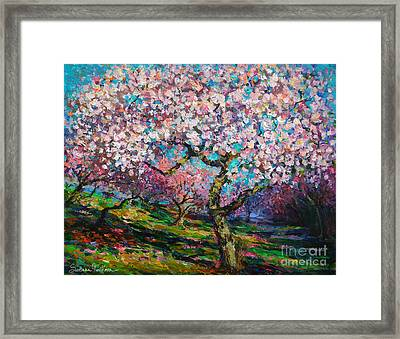 Impressionistic Spring Blossoms Trees Landscape Painting Svetlana Novikova Framed Print