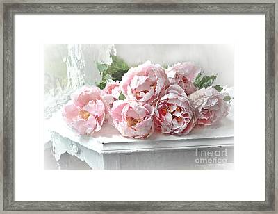 Impressionistic Watercolor Pink Peonies - Pink And White Romantic Shabby Chic Still Life Peonies Art Framed Print by Kathy Fornal