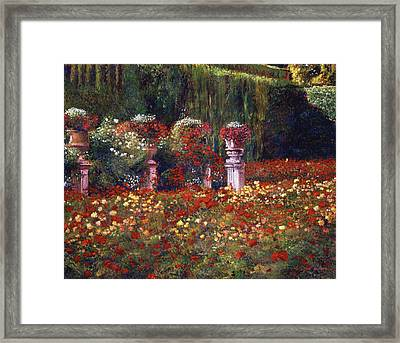 Impressions Of An English Rose Garden Framed Print by David Lloyd Glover