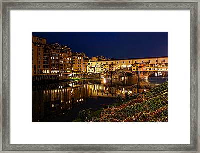 Impressions Of Florence - Ponte Vecchio Evening Framed Print by Georgia Mizuleva