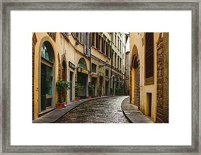Impressions Of Florence - Walking On The Silver Street In The Rain Framed Print by Georgia Mizuleva