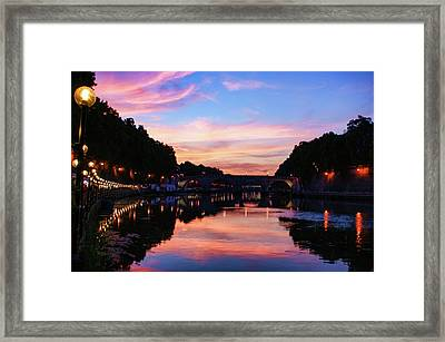 Impressions Of Rome - Divine Sky And A Necklace Of Lights Along Tiber River Framed Print by Georgia Mizuleva
