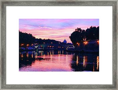 Impressions Of Rome - Glorious Sky Over Tiber River Framed Print by Georgia Mizuleva
