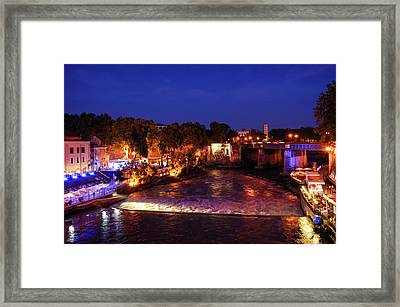 Impressions Of Rome - Summer Festival On The Banks Of Tiber River Framed Print by Georgia Mizuleva