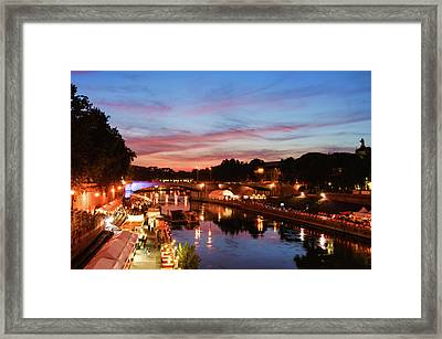Impressions Of Rome - Summertime Festival On The Banks Of Tiber River Framed Print by Georgia Mizuleva