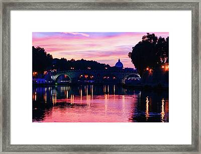 Impressions Of Rome - Tiber River Silky Current In Pink And Purple Framed Print by Georgia Mizuleva