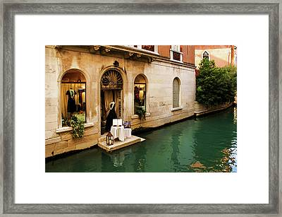 Impressions Of Venice - Shopping For A Black Dress At An Elegant Canalside Boutique Framed Print