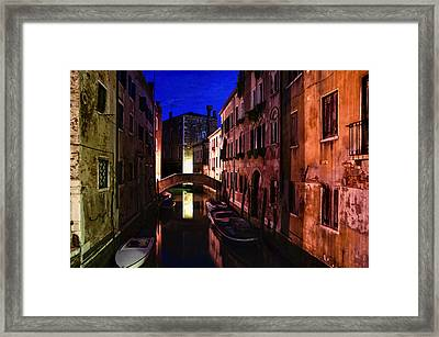 Impressions Of Venice - Wandering Around The Small Canals At Night Framed Print by Georgia Mizuleva