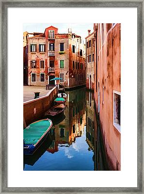 Impressions Of Venice - Wandering Around The Small Canals Framed Print by Georgia Mizuleva