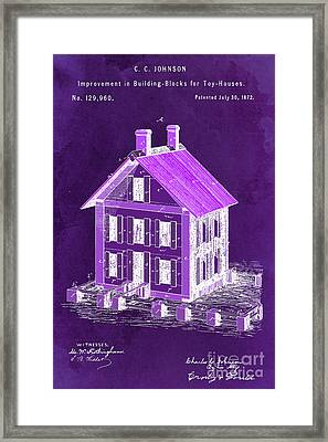 Improvement In Building Blocks For Toy Houses, Patent Year 1872, Dark Purple Framed Print