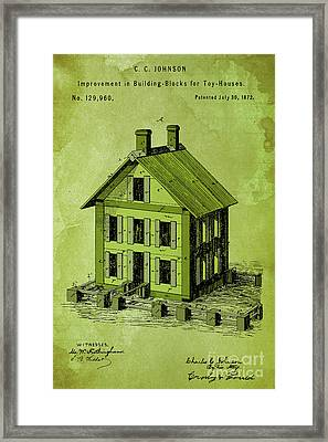 Improvement In Building Blocks For Toy Houses, Patent Year 1872, Green Framed Print