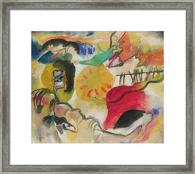Improvisation 27 - Garden Of Love Framed Print by Vasily Kandinsky