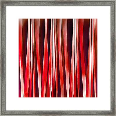 Impulsive Adventure Red Striped Abstract Pattern Framed Print