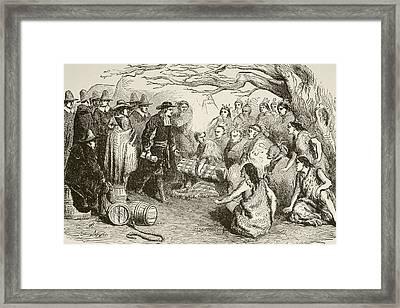 In 1682, William Penn Makes A Treaty Framed Print