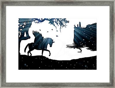 In A Dream, Unicorn, Pegasus And Castle Modern Minimalist Style Framed Print by Stephanie Laird