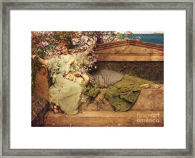 In A Rose Garden Framed Print by Sir Lawrence Alma-Tadema
