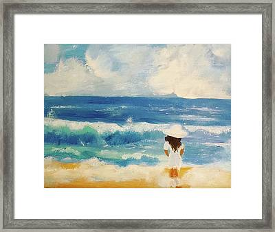 In Awe Of The Ocean Framed Print by Angela Holmes