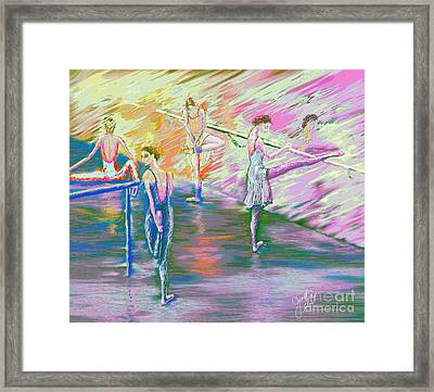 In Ballet Class Framed Print by Cynthia Sorensen