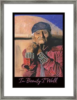 In Beauty I Walk - Original Pastel - Navajo Medicine Man Framed Print
