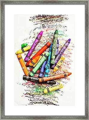 In Colours Of Broken Crayons Framed Print