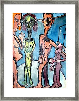 Framed Print featuring the painting In Cylinder - An American Family by Kenneth Agnello