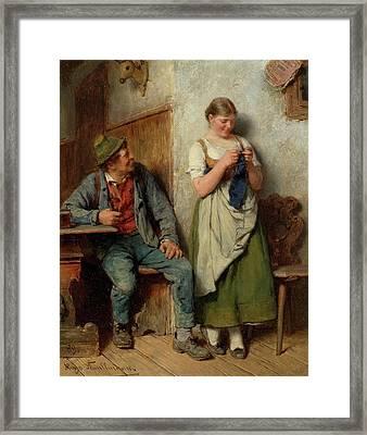 In Der Stube Mit Holzknecht Framed Print